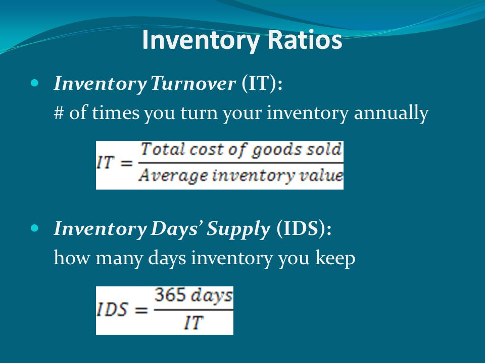 Inventory Ratios Inventory Turnover (IT):