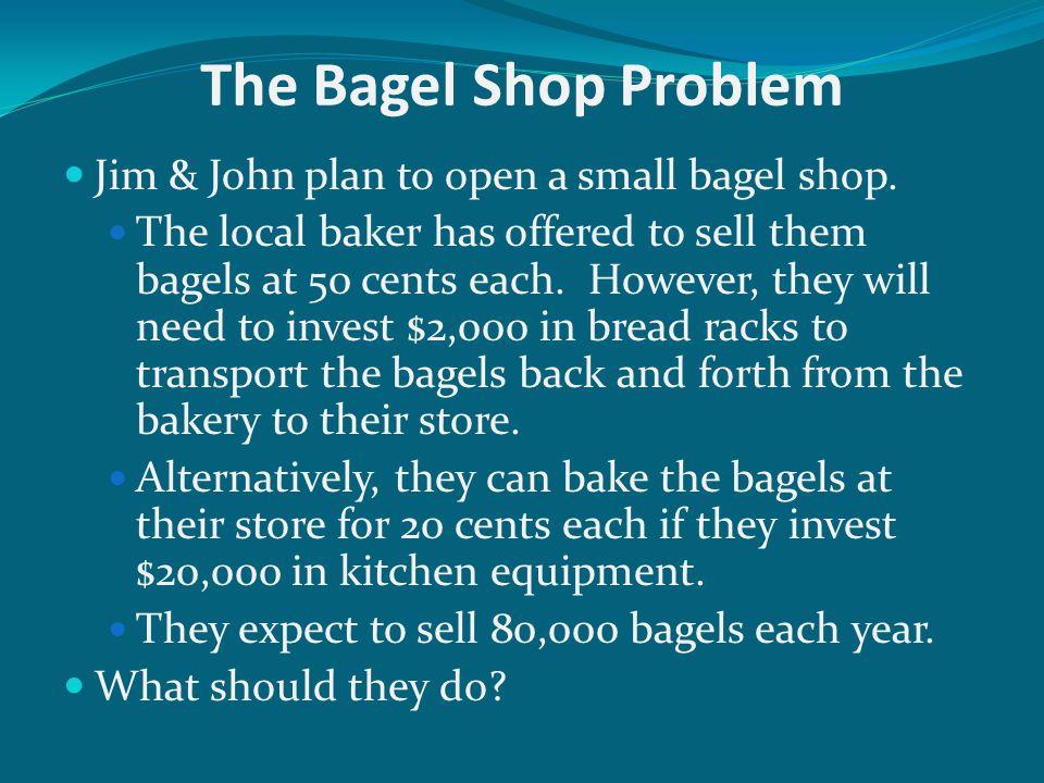 The Bagel Shop Problem Jim & John plan to open a small bagel shop.