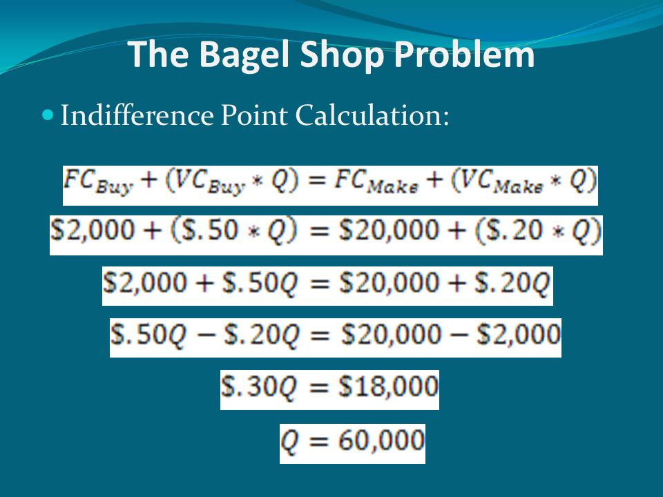 The Bagel Shop Problem Indifference Point Calculation: