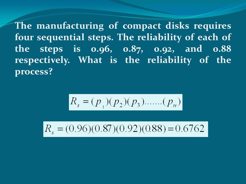 The manufacturing of compact disks requires four sequential steps