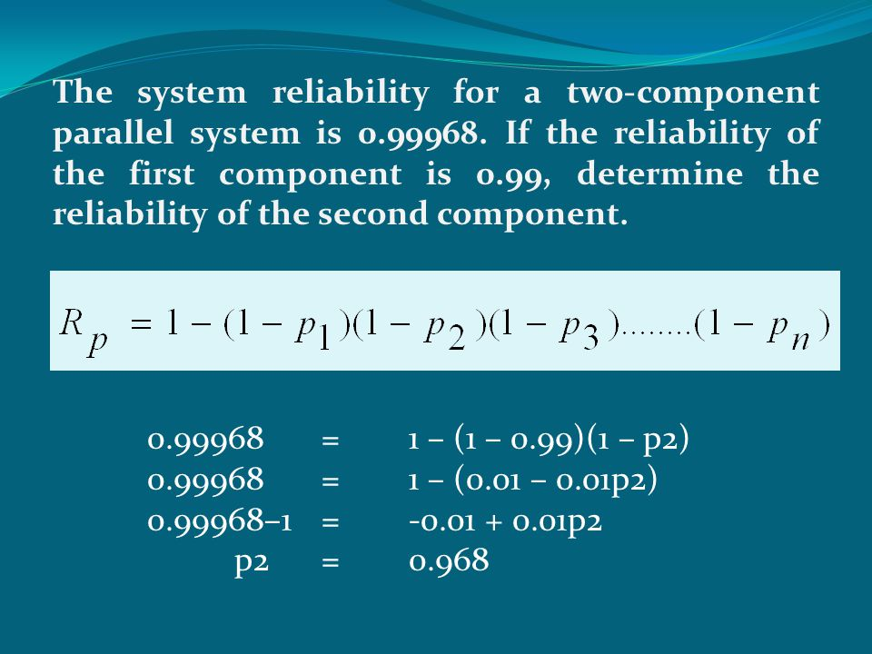 The system reliability for a two-component parallel system is 0. 99968