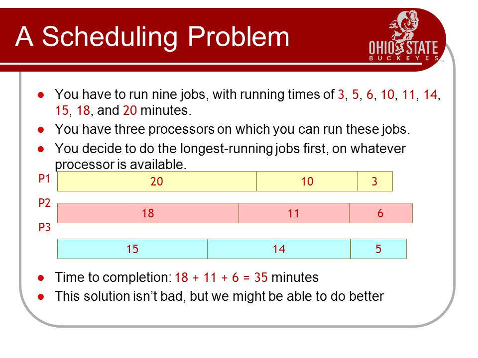A Scheduling Problem You have to run nine jobs, with running times of 3, 5, 6, 10, 11, 14, 15, 18, and 20 minutes.