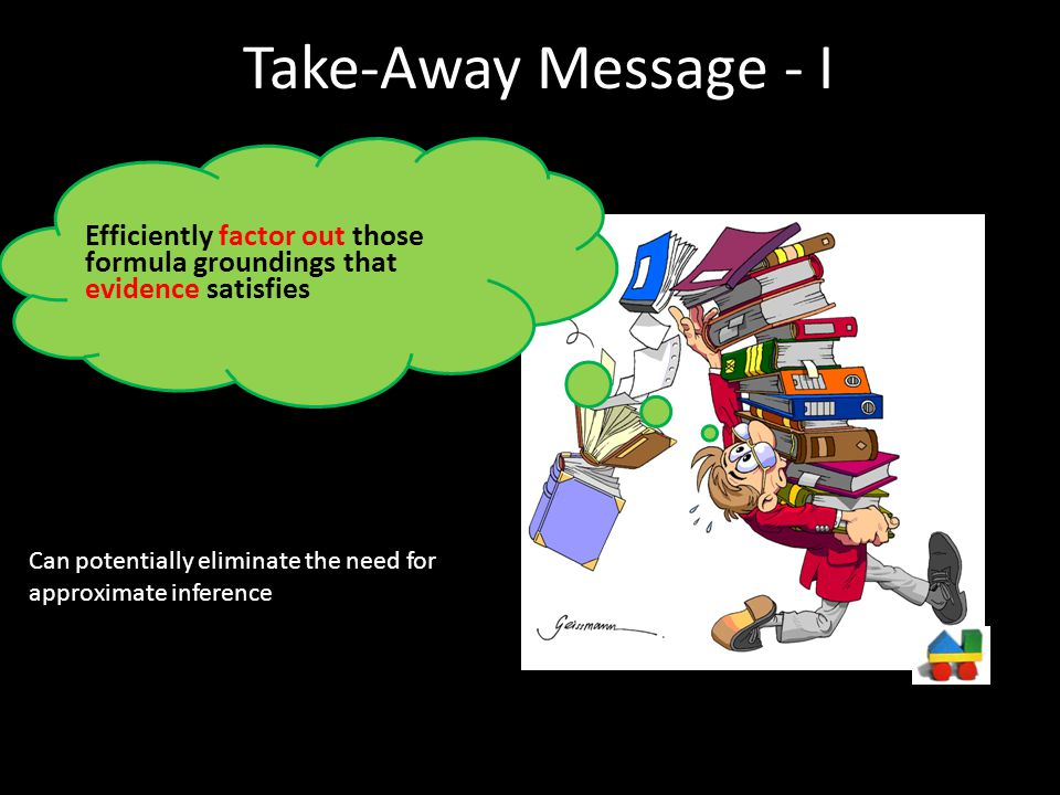 Take-Away Message - I Efficiently factor out those formula groundings that evidence satisfies.