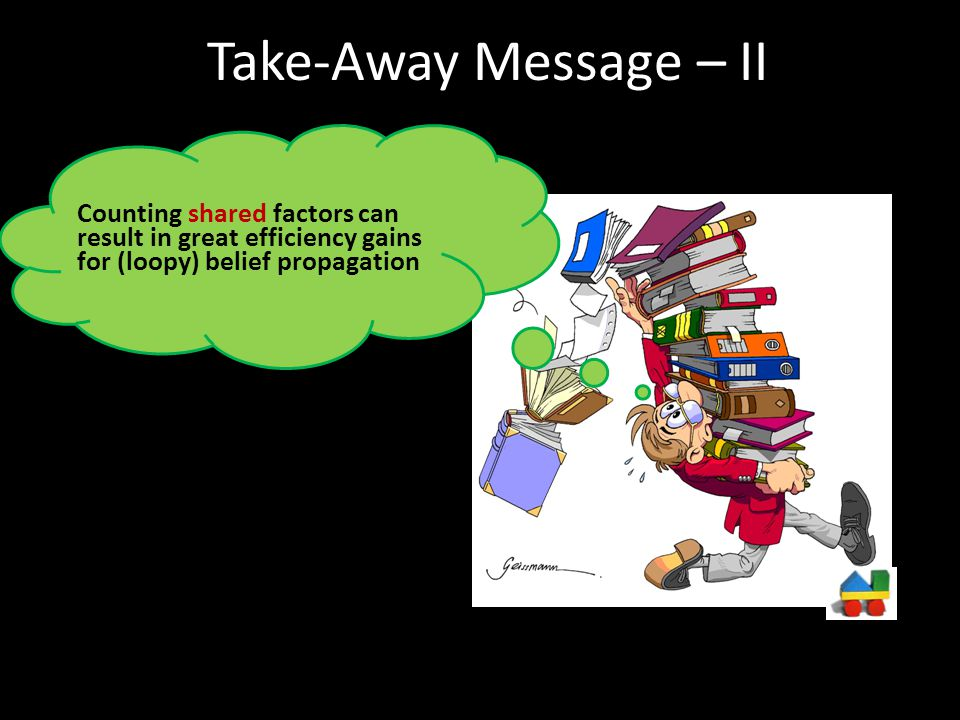 Take-Away Message – II Counting shared factors can result in great efficiency gains for (loopy) belief propagation.