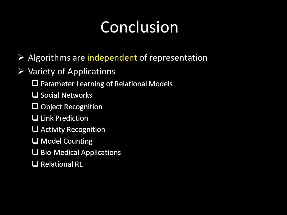 Conclusion Algorithms are independent of representation