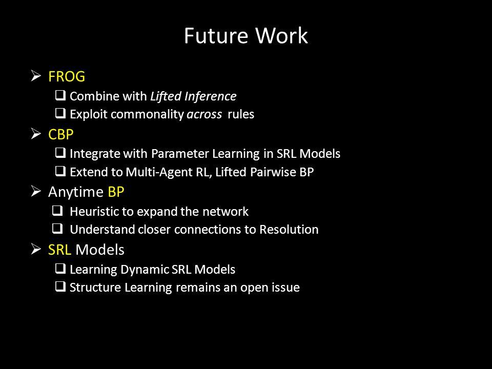 Future Work FROG CBP Anytime BP SRL Models