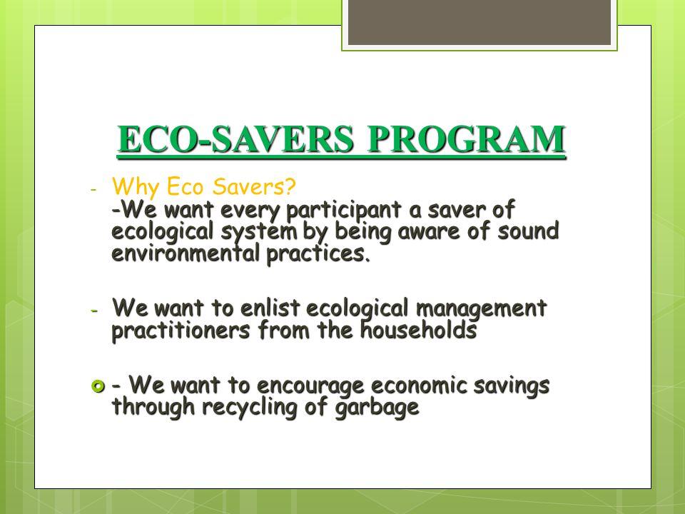 ECO-SAVERS PROGRAM