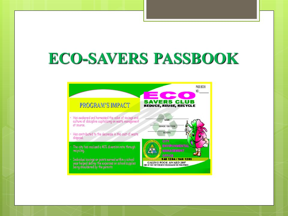 ECO-SAVERS PASSBOOK