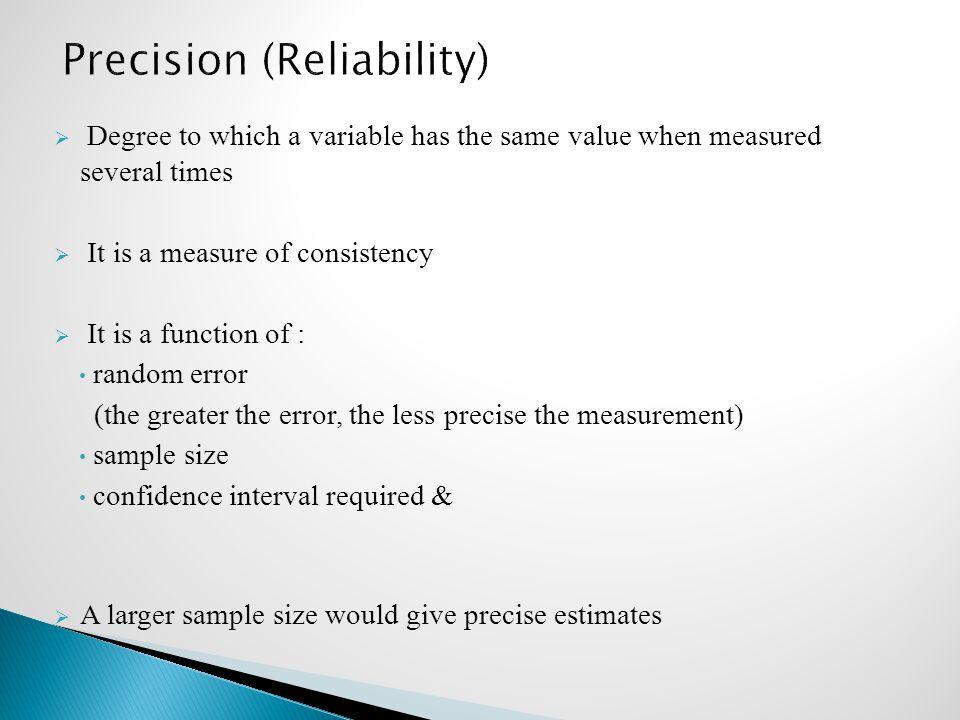 Precision (Reliability)