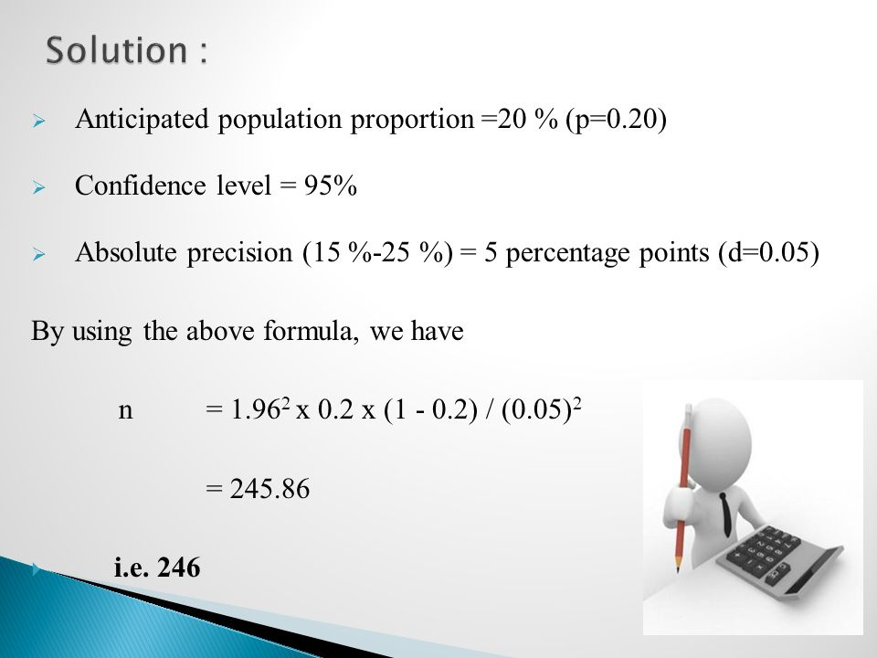 Solution : Anticipated population proportion =20 % (p=0.20)