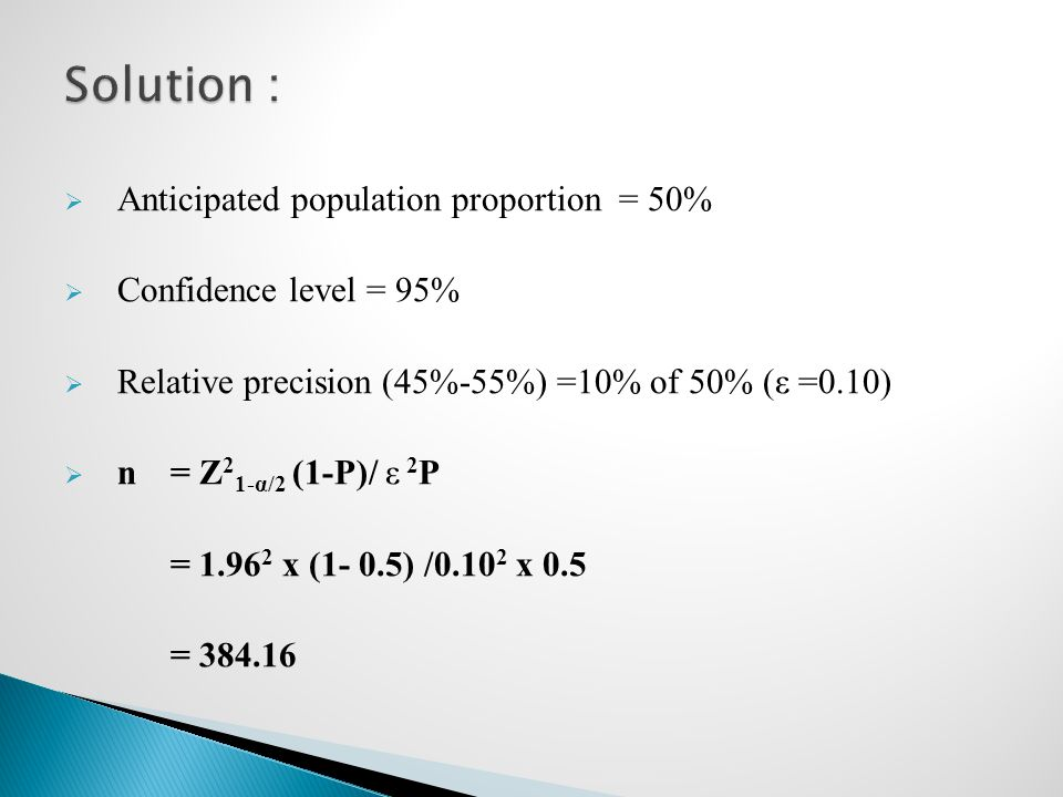 Solution : Anticipated population proportion = 50%