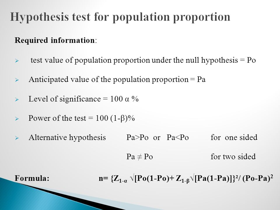 Hypothesis test for population proportion