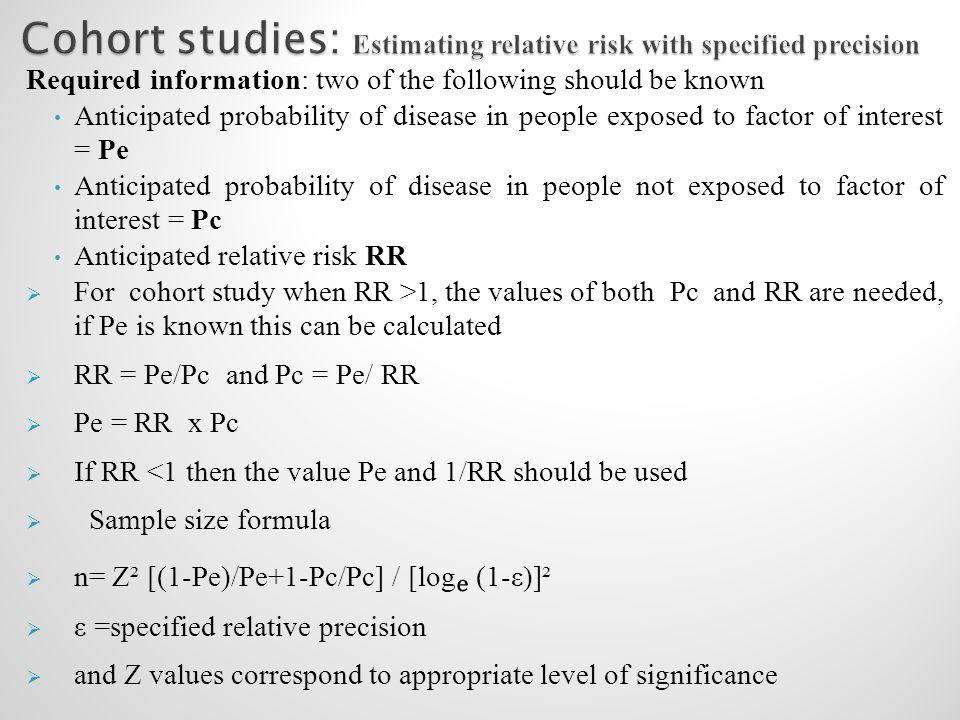 Cohort studies: Estimating relative risk with specified precision