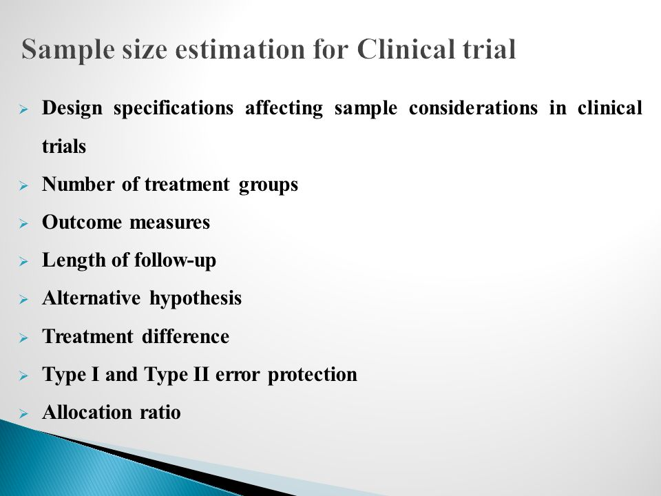 Sample size estimation for Clinical trial