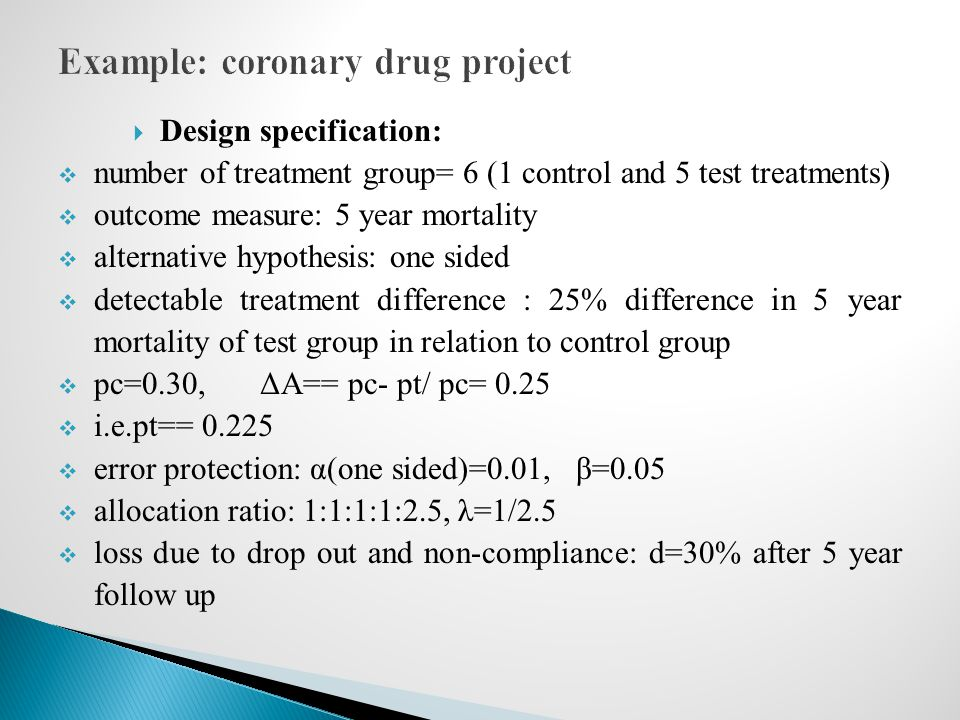 Example: coronary drug project