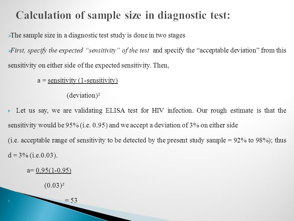 Calculation of sample size in diagnostic test:
