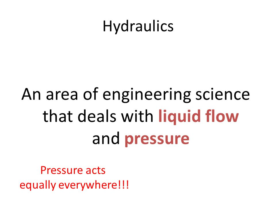 Hydraulics Principles of EngineeringTM. Unit 4 - Lesson 4.3 – Fluid Systems. Hydraulics.
