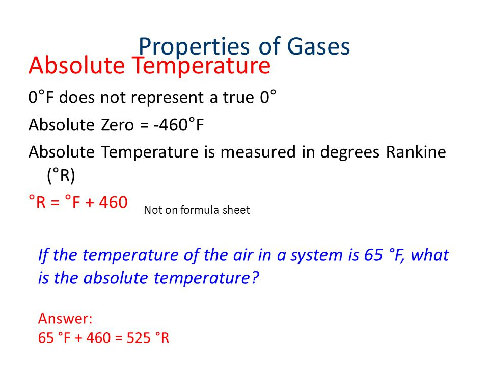 Properties of Gases Absolute Temperature