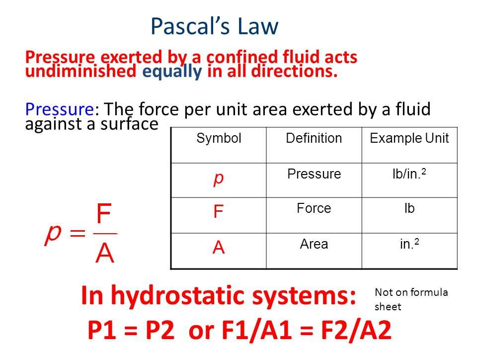 In hydrostatic systems: P1 = P2 or F1/A1 = F2/A2