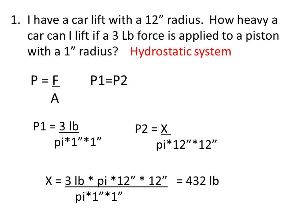 I have a car lift with a 12 radius