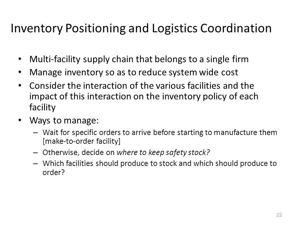 Inventory Positioning and Logistics Coordination