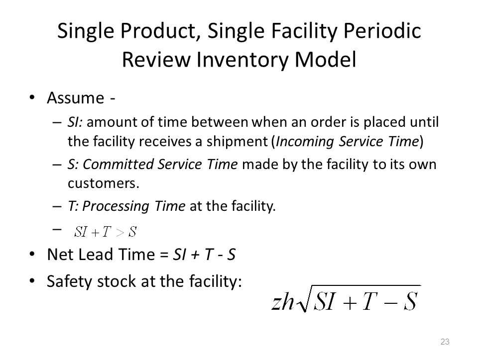 Single Product, Single Facility Periodic Review Inventory Model