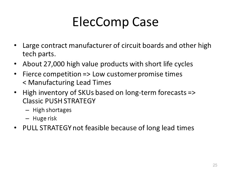 ElecComp Case Large contract manufacturer of circuit boards and other high tech parts. About 27,000 high value products with short life cycles.