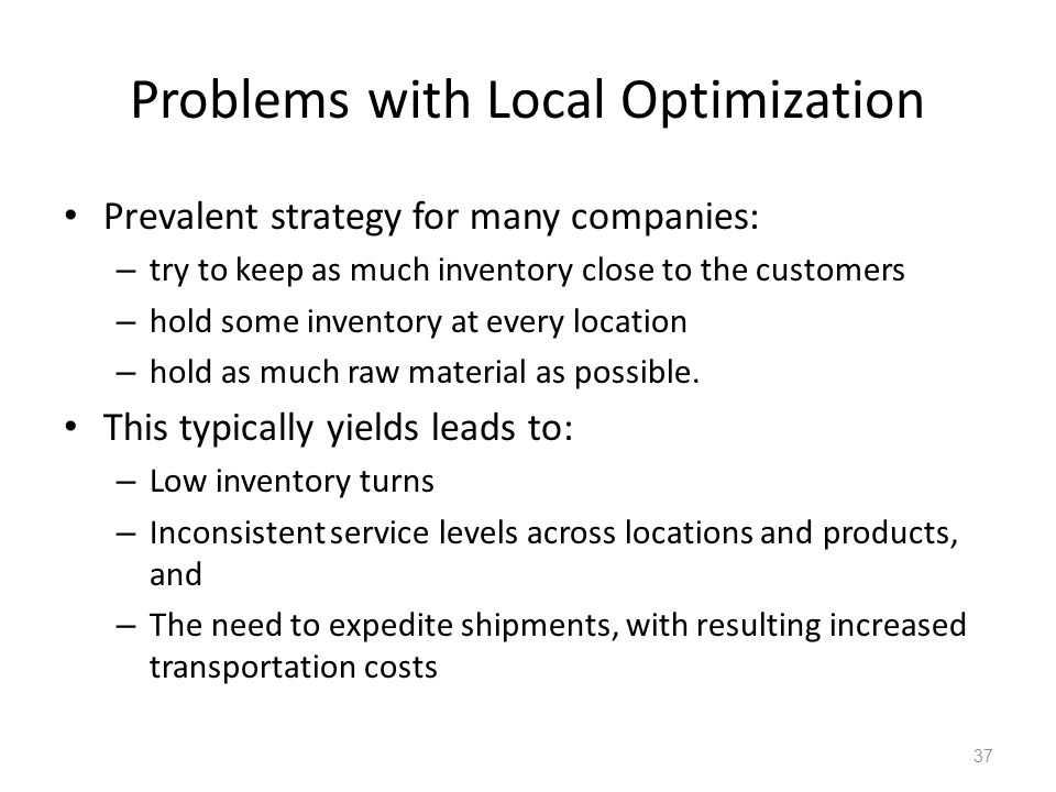 Problems with Local Optimization