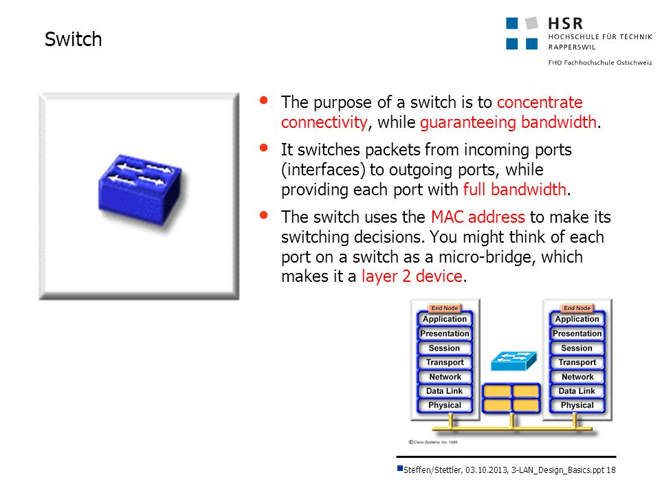 Switch The purpose of a switch is to concentrate connectivity, while guaranteeing bandwidth.
