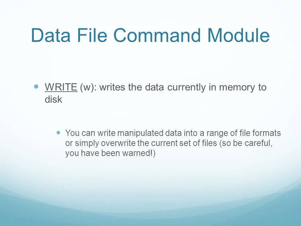 Data File Command Module