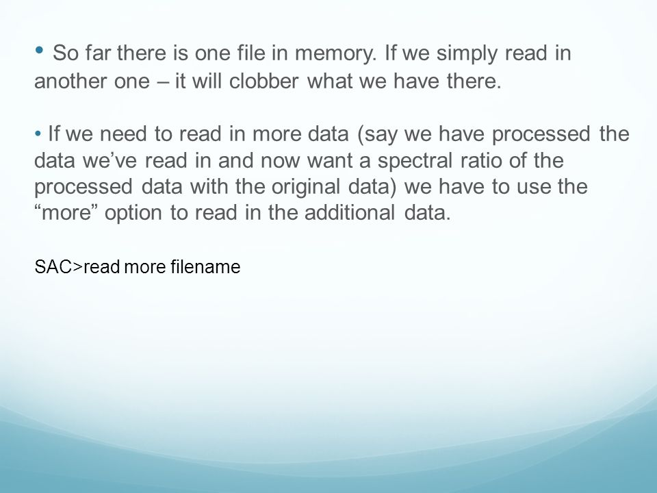 So far there is one file in memory