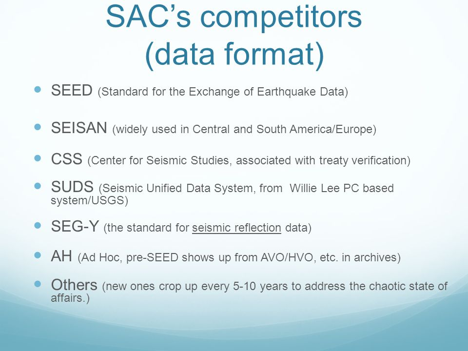SAC's competitors (data format)