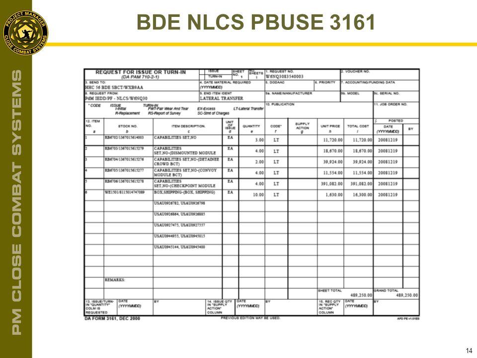 BDE NLCS PBUSE 3161