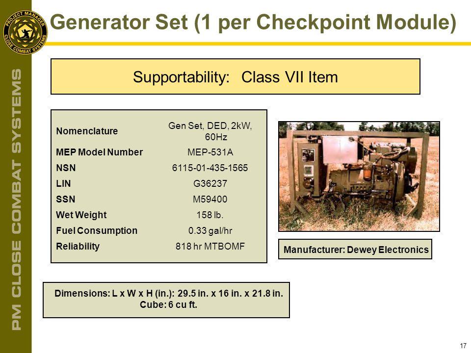Generator Set (1 per Checkpoint Module)