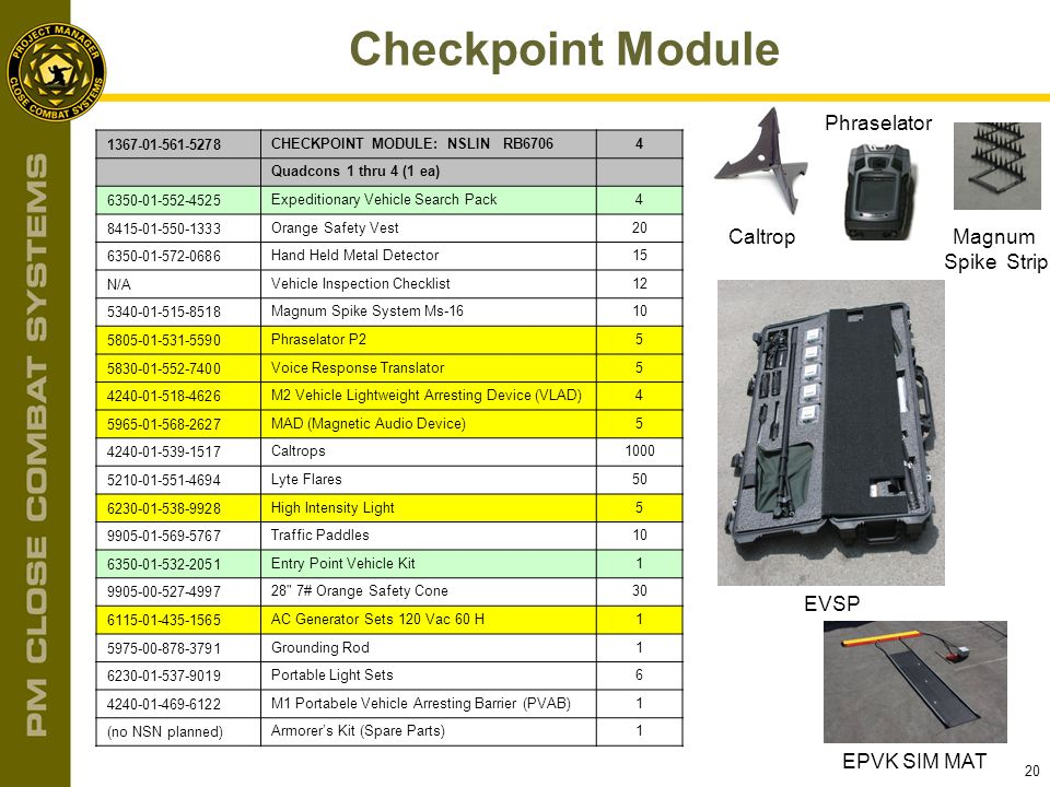 Checkpoint Module Phraselator Caltrop Magnum Spike Strip EVSP
