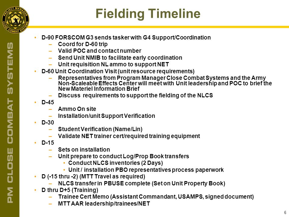 Fielding Timeline D-90 FORSCOM G3 sends tasker with G4 Support/Coordination. Coord for D-60 trip. Valid POC and contact number.