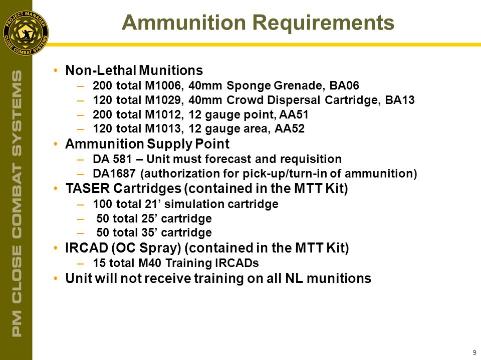 Ammunition Requirements
