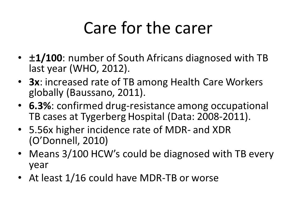 Care for the carer ±1/100: number of South Africans diagnosed with TB last year (WHO, 2012).
