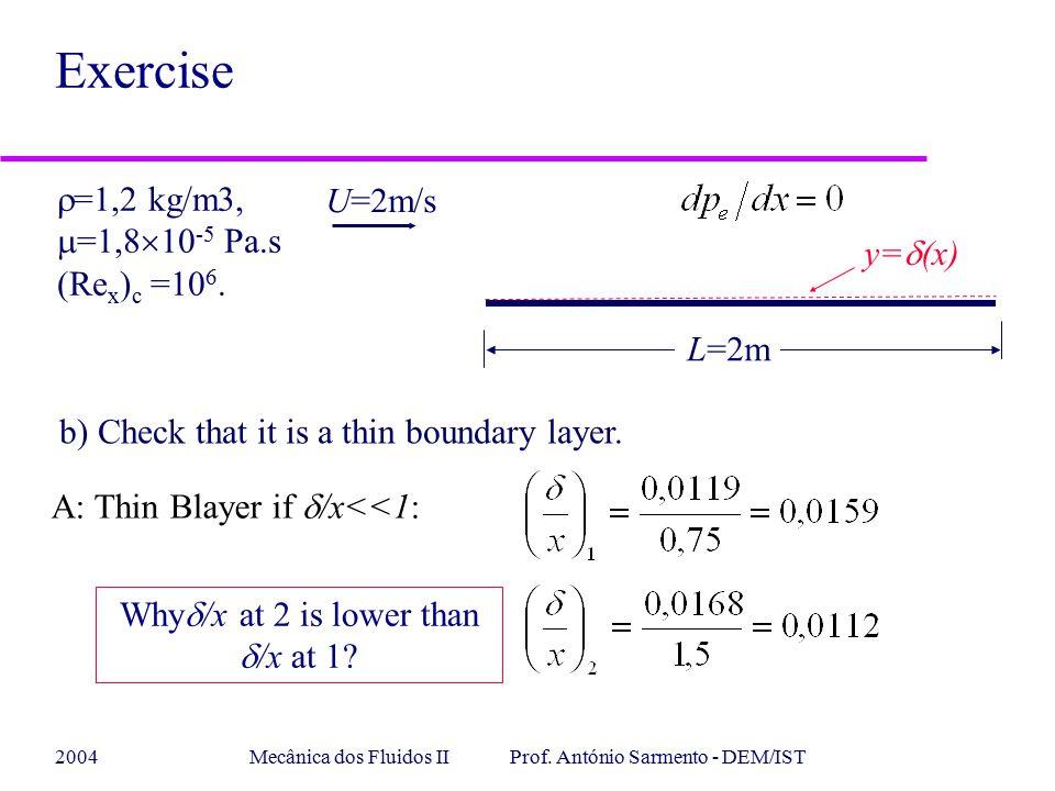 Exercise =1,2 kg/m3, U=2m/s =1,810-5 Pa.s (Rex)c =106. y=(x) L=2m