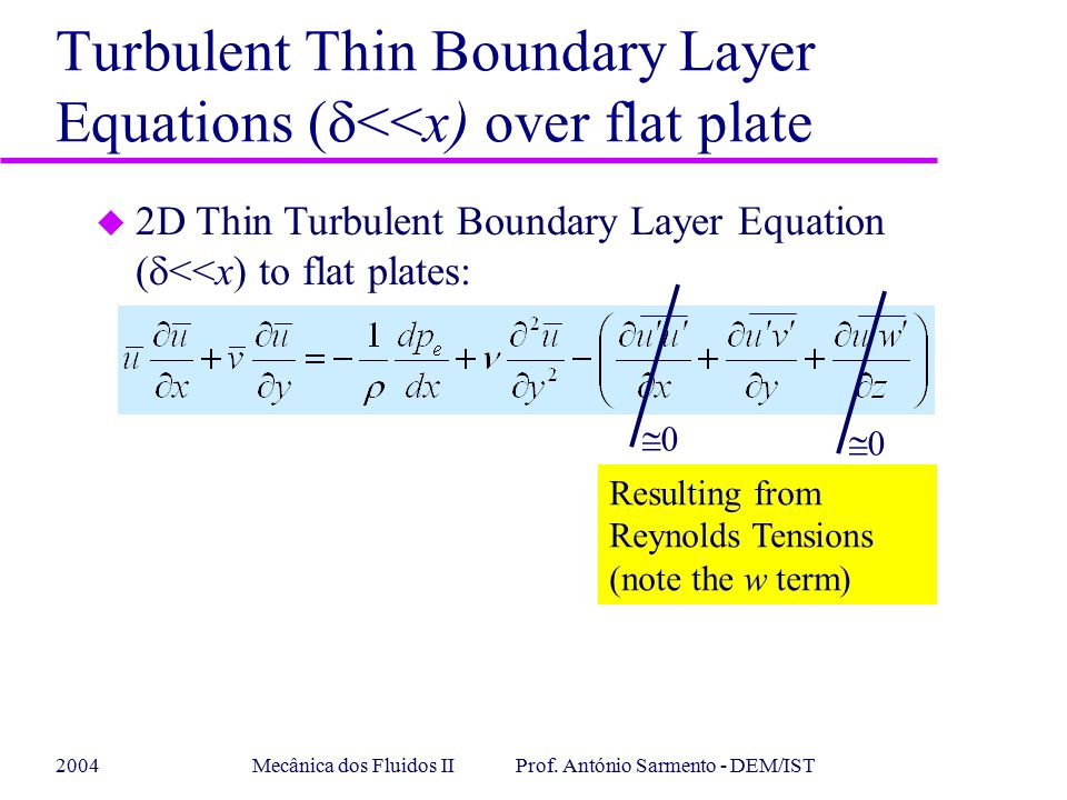 Turbulent Thin Boundary Layer Equations (d<<x) over flat plate