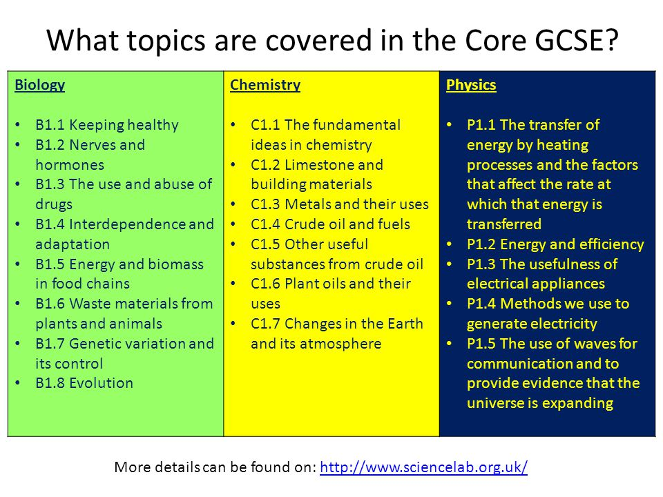 What topics are covered in the Core GCSE