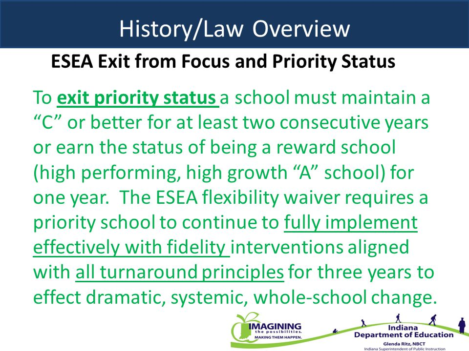 ESEA Exit from Focus and Priority Status