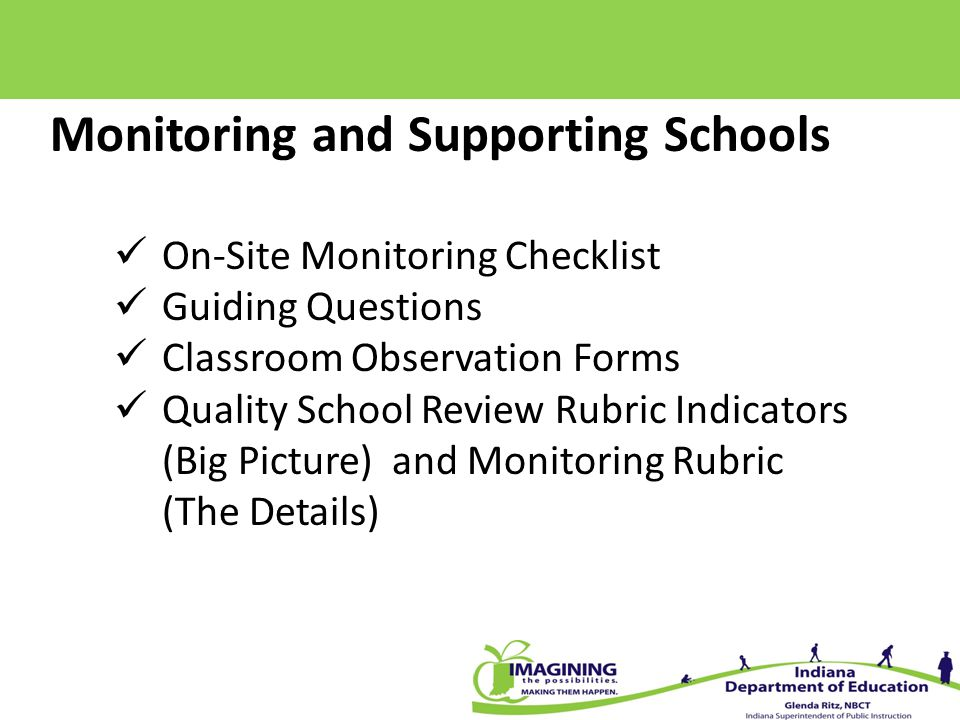 Monitoring and Supporting Schools