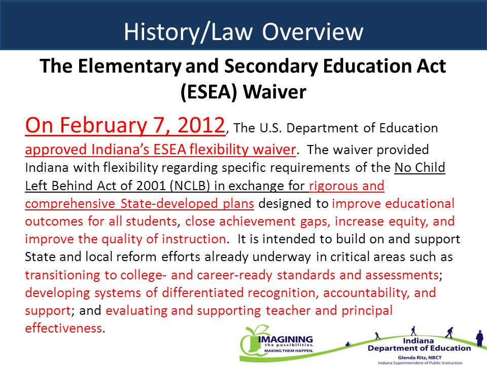 The Elementary and Secondary Education Act (ESEA) Waiver