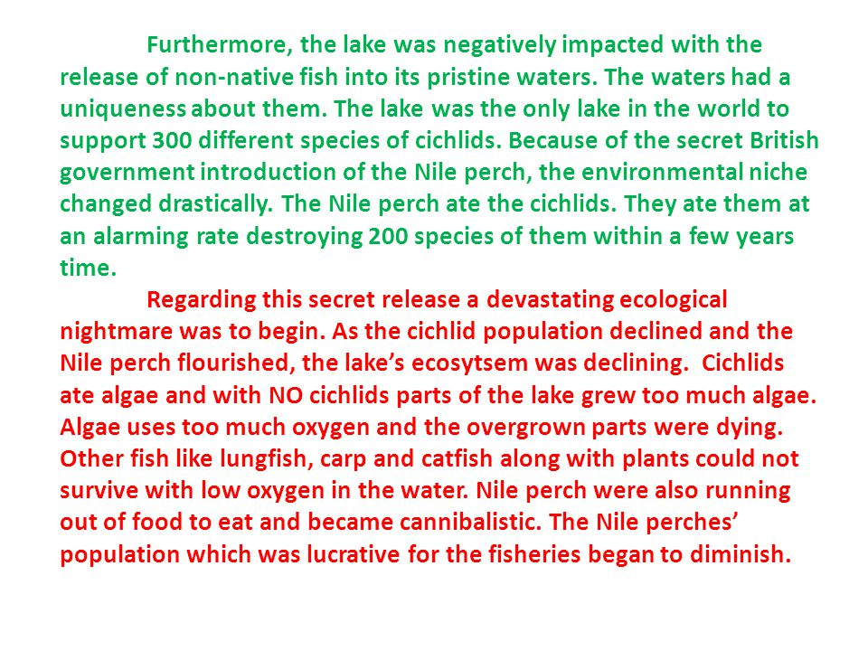 Furthermore, the lake was negatively impacted with the release of non-native fish into its pristine waters.