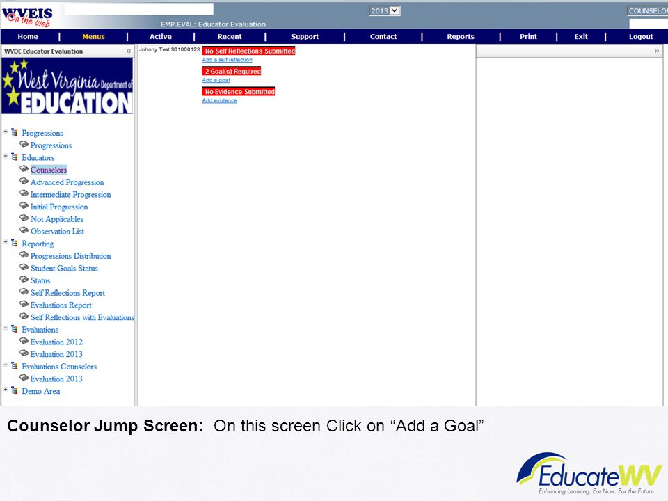 Counselor Jump Screen: On this screen Click on Add a Goal