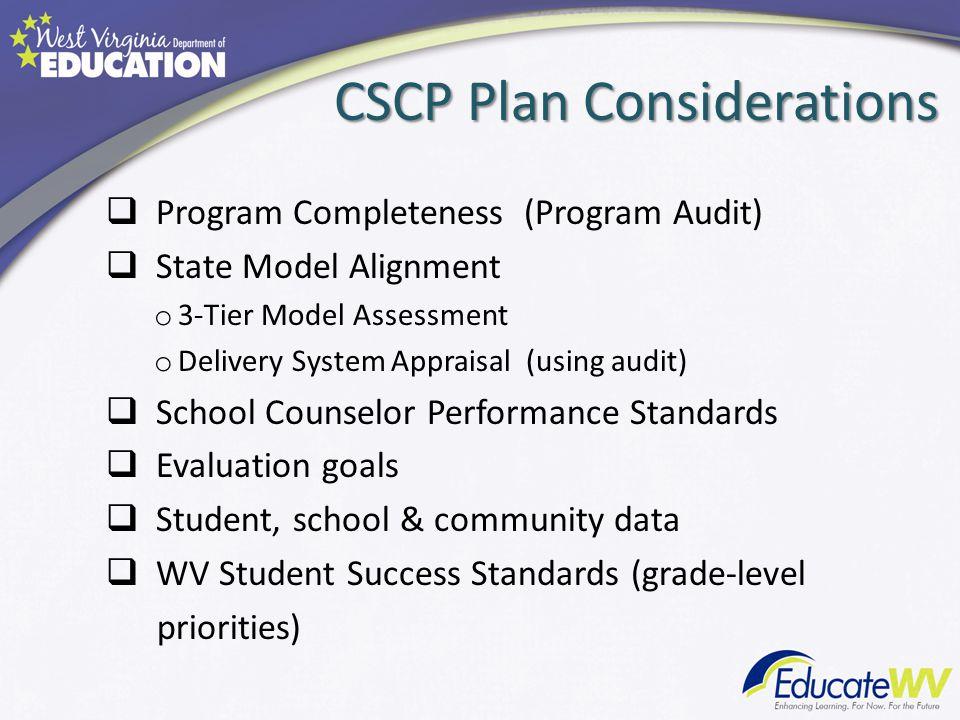 CSCP Plan Considerations