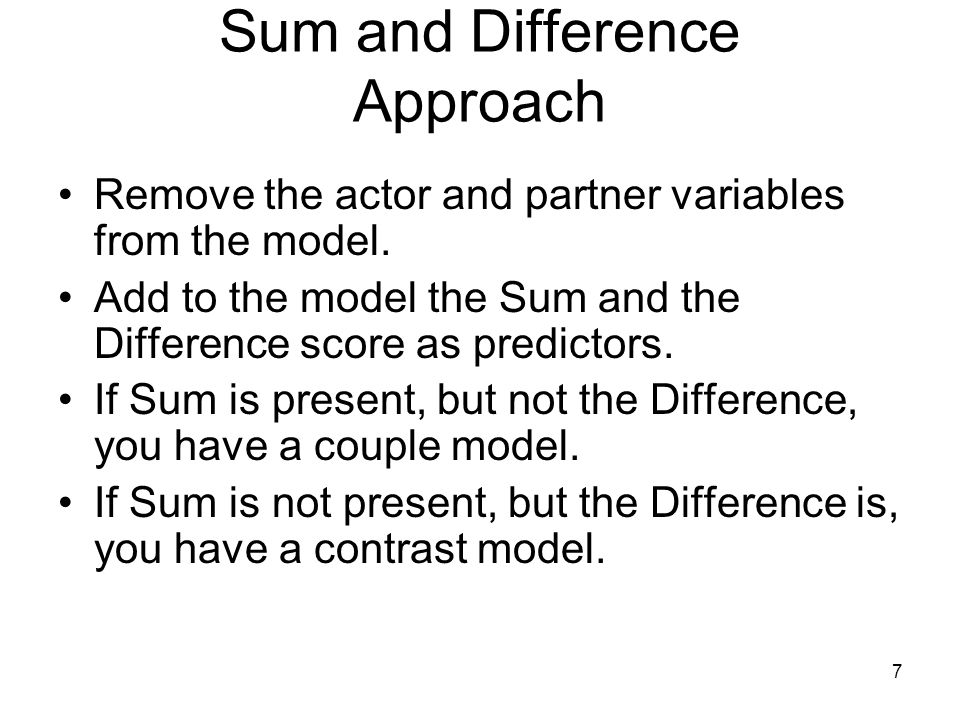 Sum and Difference Approach