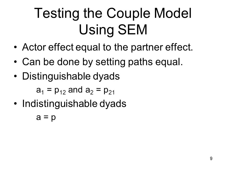 Testing the Couple Model Using SEM