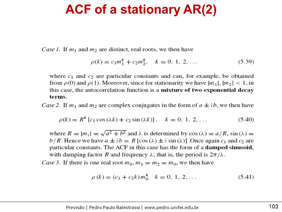 ACF of a stationary AR(2)